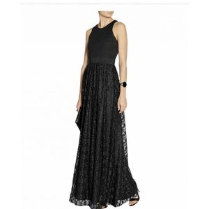 Milly Lace Gown Black Dress Wool Fitted Top Flowy